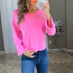 Splendid Bright Neon Pink Boxy Knit Sweater Top